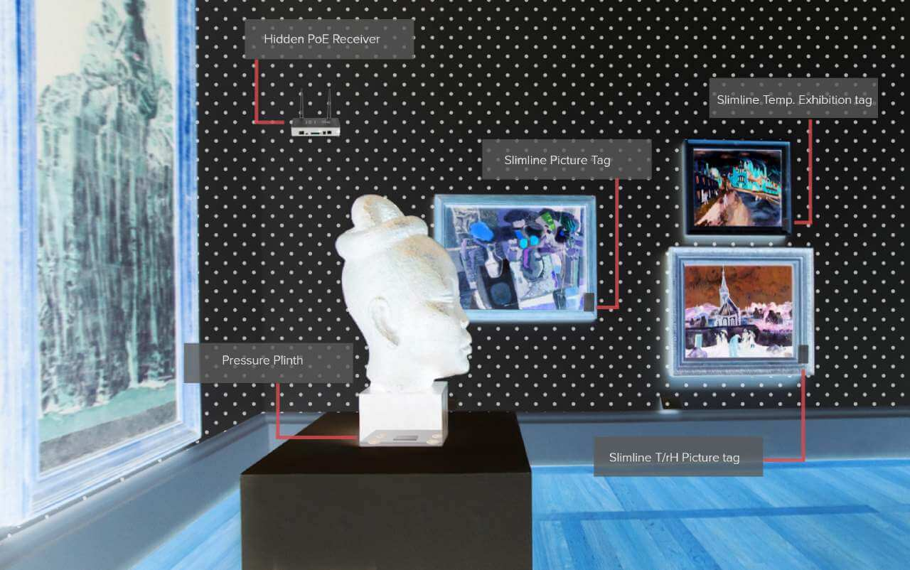 A museum art display with x ray tag samples